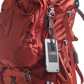 Phone Lasso Hooked onto Backpack