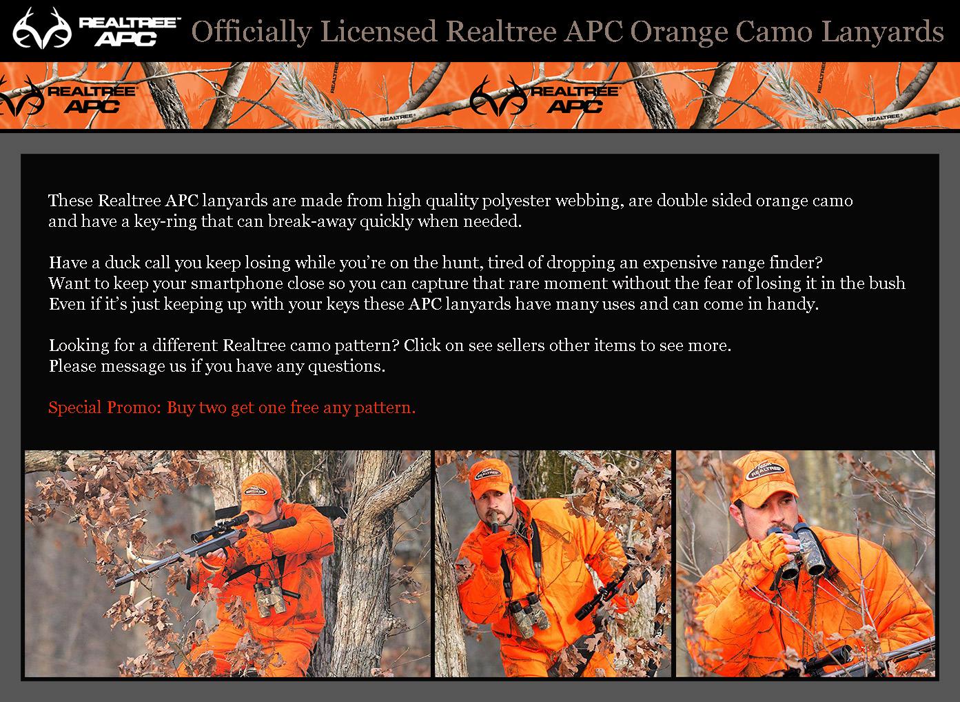 Realtree APC Orange Camo Keychain With Clip On Carabiner New Realtree Key Ring